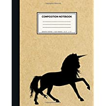 Graph Paper Composition Notebook: 1/4 inch squares | UNICORN Brown Paper Soft Cover | Large (8.5 x 11 inches) Letter Size | 120 Square Grid Pages | Blank Quad Ruled Retro Notes