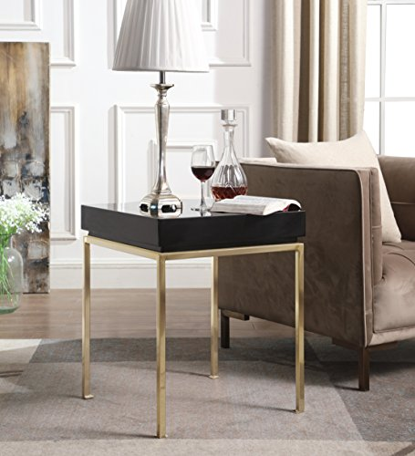 Iconic Home Cannes Nightstand Side Table Square Frame High Sheen Lacquer Finsh Top Gold Plated Metal Legs, Modern Contemporary, Black
