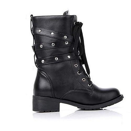 Botas de Mujer Remache Estilo gótico Corto Zapatos con Cordones Motocicleta Botines Botines: Amazon.es: Zapatos y complementos