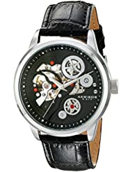 Akribos XXIV Mens AK538BK Mechanical Stainless Steel Skeleton Watch with Black Leather Band