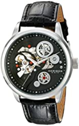 Akribos XXIV Men's AK538BK Mechanical Stainless Steel Skeleton Watch with Black Leather Band