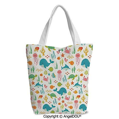 Shopping bag Cool Tote Canvas bag for Women Underwater Animals Aqua Marine Life