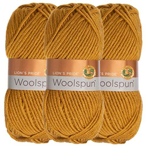 (Lion Brand (3 Pack) Woolspun Acrylic & Wool Soft Honey Amber Yarn for Knitting Crocheting Bulky)
