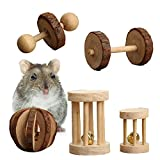 Pack of 5 Hamster Chew Toys - Natural Wooden Pine Dumbells Exercise Bell Roller Teeth Care Molar Toy For Rabbits Rat Guinea Pig And Other Small Pets Play Toy