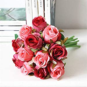 XGM GOU Wholesale Fake Artificial Bridal Wedding Bouquet Purple Rose Wedding Flower Party Decoration Red Silk Roses Wedding Flower 42