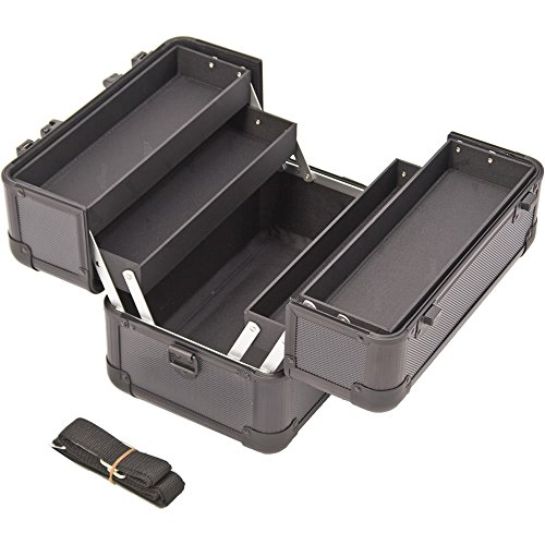 Sunrise C0002 2-Tier Accordion Trays Makeup Case with Shoulder Strap, 11-Inch, Black (Dots Train Case)