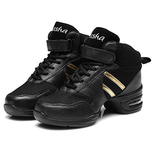 Scarpe Da Uomo Roymall E Pelle Da Donna Boost Dance Sneaker / Moderno Scarpe Da Ballo Jazz Da Ballo Scarpe Da Ginnastica Scarpe Da Ginnastica, Modello B51 / B52 / B53 Nero + Oro-3