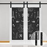WINSOON Sliding Barn Door Hardware Aluminum Rollers Cabinet Closet Track Kit Antique Style for Double Wood Doors Black (5FT /60'' 2 Doors Track Kit)