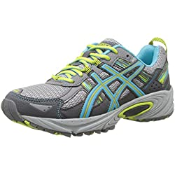 ASICS Women's Gel-Venture 5 Running Shoe, Silver Grey/Turquoise/Lime Punch, 8 D US