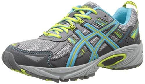 ASICS Women's Gel-Venture 5 Running Shoe, Silver Grey/Turquoise/Lime Punch, 8 M US