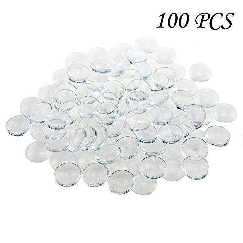 Glass Cabochon Photo - Acmer 100 Pieces Transparent glass cabochons, clear glass dome cabochon, Non-calibrated Round 1 inch/25mm For Photo Pendant Craft Jewelry Making