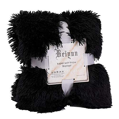 Massage Carpet 52x63 Inch, Yezijin Large Soft Warm Shaggy Faux Fur Throw Blanket Sofa Double King Bed Blanket (Black)