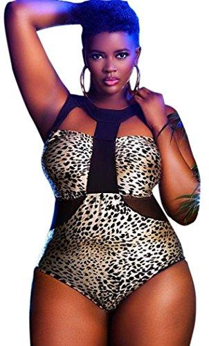 Christmas PEGGYNCO Womens Sheer Mesh Cutout Plus Size Leopard Monokini Size 5XL