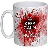 """Tasse mit Blutspritzern und Aufschrift """"Keep Calm I'm A Nurse"""""""