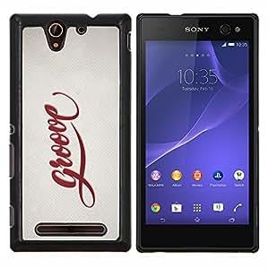 LECELL--Funda protectora / Cubierta / Piel For Sony Xperia C3 -- Groove Cita Slogan Sign Estilo Insignia Vida --