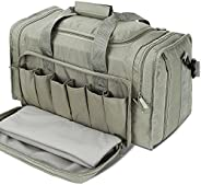 SoarOwl Tactical Shooting Range Bag Waterproof Pistol Range Duffle Bags Lockable Zipper Heavy Duty Antiskid Fe