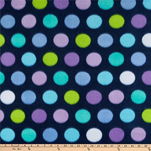 Newcastle Fabrics Polar Fleece Print Fun Dot Navy Fabric By The Yard