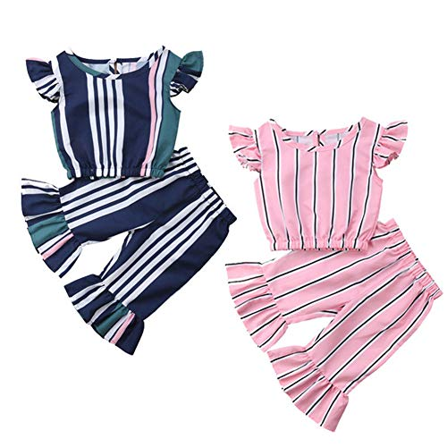 Toddler Baby Girl Clothes Set,Kids Flying Sleeves Shirt Tops Bell-Bottoms Stripes Pant Outfit,0-5 Years