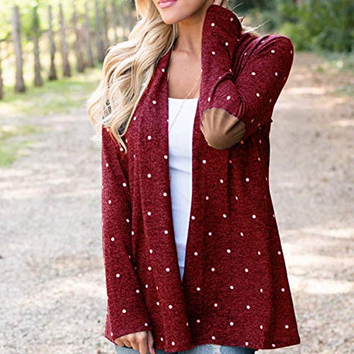 Nero Clothing Giovane Di Lana Longsleeve Lungo Cardigan Polka Winered Dots Ladies Cappotto Fashion Vintage Boucle Capispalla Donna Inverno qzSUpGMV