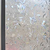 Max corner Window PVC Film Tint, French Door Stained Glass UV Protection Sun Screen Block Anti Heat Flower Style Privacy Forest Marble Stone Size 60 X 200cm