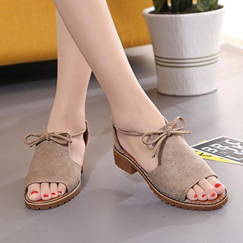 cheap for discount 4455f 341ca Sinwo Women's Ladies Lace Up Wedge Espadrilles Summer Chunky Beach Holiday  Sandals Shoes (5, Khaki)