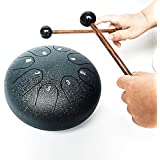 REGIS Tongue Drum 8 Notes 6 Inches Chakra Tank Drum Steel Percussion Padded Travel Bag and Mallets Navy