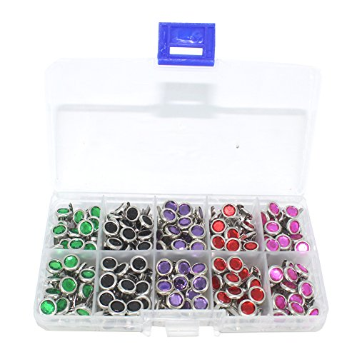 BESTCYC 200pcs 8mm 5colors/box Rhinestone Brads Scrapbooking Card Making Wedding Craft (Brads Rhinestone)