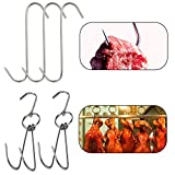 TinaWood 2pcs Stainless Steel Double Hooks + 3pcs S-Hooks for Bacon Hams Meat Processing Butcher Hook Hanging Drying BBQ Grill Cooking Smoker Hook Tool