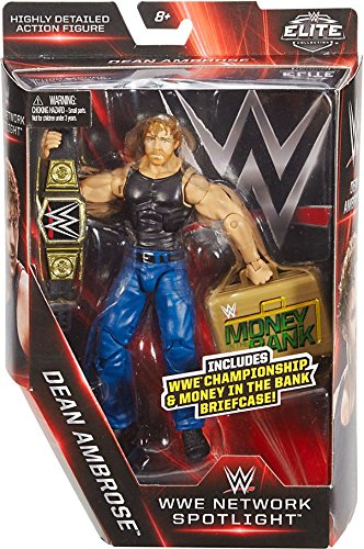 WWE Elite Collection, WWE Network Spotlight 6 Dean Ambrose figure with Championship & Money in the Bank Briefcase (Wwe The Shield Best Moments)