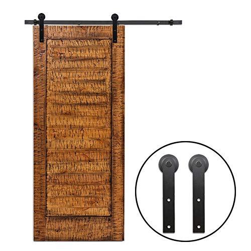 8ft I Shape Sliding Barn Door Hardware Kit, Vintage Sliding Barn Door Closet Hardware Track System for Single Wooden Door