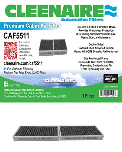 Air Wrangler Jeep (Cleenaire CAF5511 The Most Advanced Protection Against Bacteria Dust Viruses Allergens Gases Odors, Cabin Air Filter For 11-18 Jeep Wrangler)