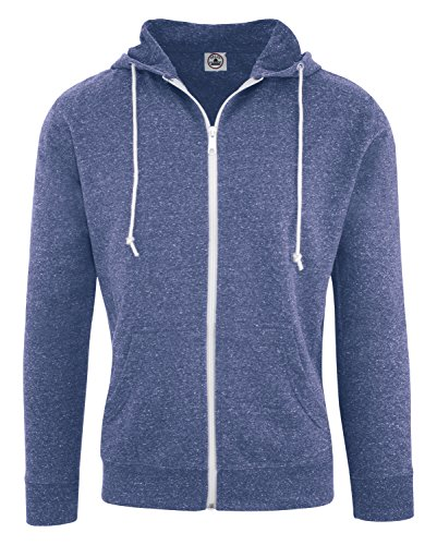 Blue Zip Hoodie (Delta Adult Men's Snow Heather French Terry Zip Hoodie Sweatshirt Royal Large)
