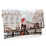 BMC Womens Textured PU Faux Leather Postage Stamp Design Print Flap Fashion Clutch Handbag - London Chic