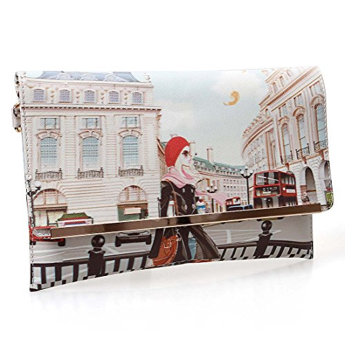 BMC Womens Textured PU Faux Leather Postage Stamp Design Print Flap Fashion Clutch Handbag - London Chic (Chic Handbag Red)