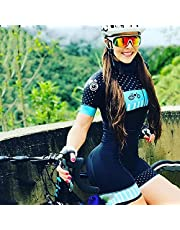 with Cycling Suit Pro Team Triathlon Set Women's Cycling Jersey One Piece Jumpsuit Short Sleeve Set Gel Pad (Color : 2, Size : X-Small)