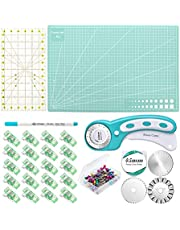 Rotary Cutter Set with 3 Rotary Cutter Blades,A3 Rotary Cutting Mat,Sewing Pins and Acrylic Ruler for Art Craft,Fabric, Leather,Paper