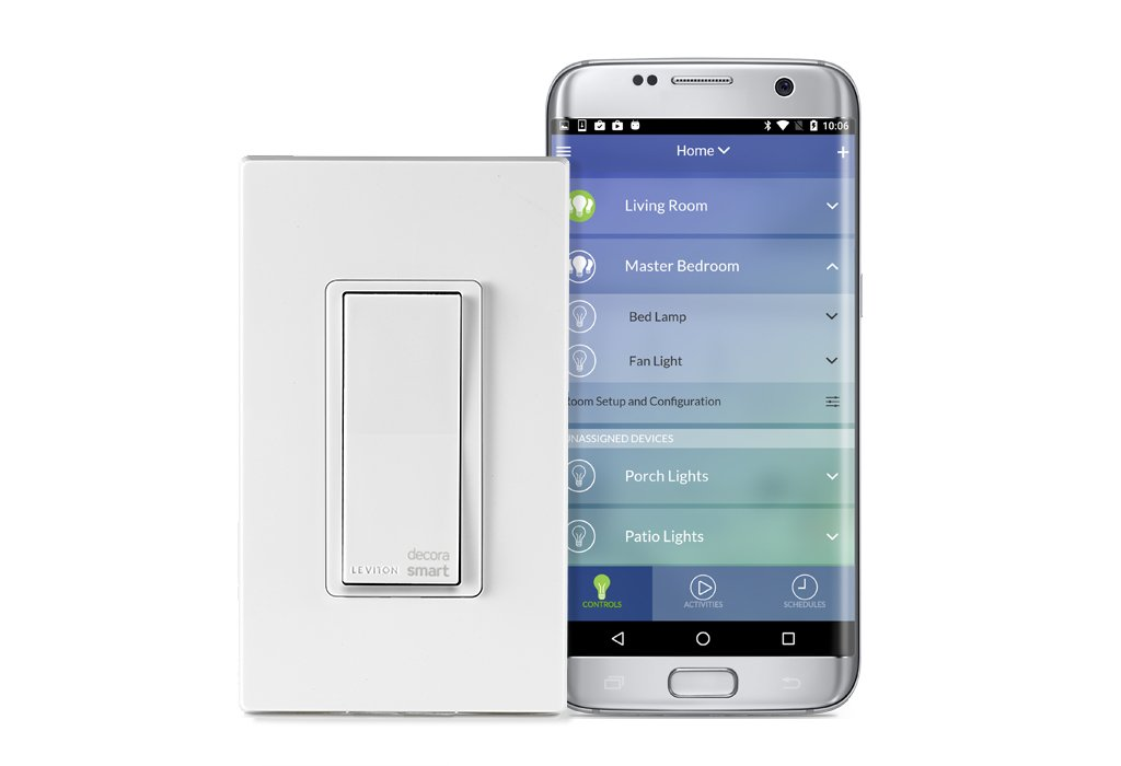 Leviton DW15S-1BZ Decora Smart Wi-Fi 15A LED/Incandescent Switch, No Hub Required, Neutral Wire Required, Works with Alexa, Google Assistant and Nest