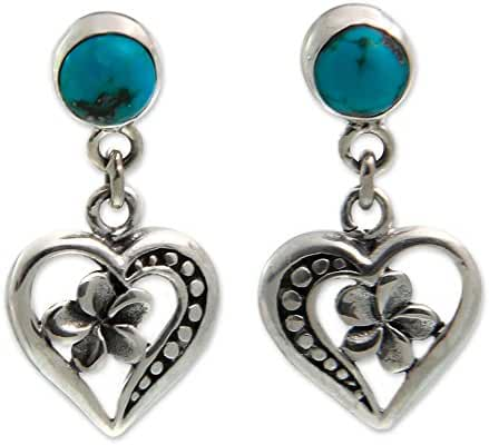 NOVICA .925 Sterling Silver and Reconstituted Turquoise Heart Dangle Earrings, 'Frangipani Hearts'