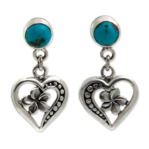 (NOVICA .925 Sterling Silver and Reconstituted Turquoise Heart Dangle Earrings, Frangipani Hearts')