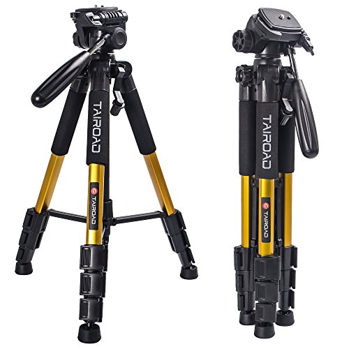 "Tairoad T1-111 Tripod 55"" Aluminum Lightweight Sturdy Camera Tripod Portable for Travel with 3-Way Swivel Pan Head for DSLR EOS Canon Nikon Sony Samsung Max Capacity 11lbs (Gold)"