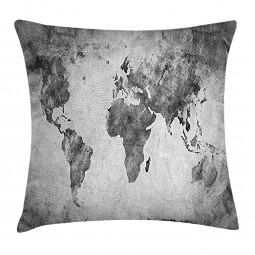 """Ambesonne Modern Throw Pillow Cushion Cover, Vintage World Map with Dark Nostalgic Tones Featured Displays Background Image, Decorative Square Accent Pillow Case, 16"""" X 16"""", Grey"""