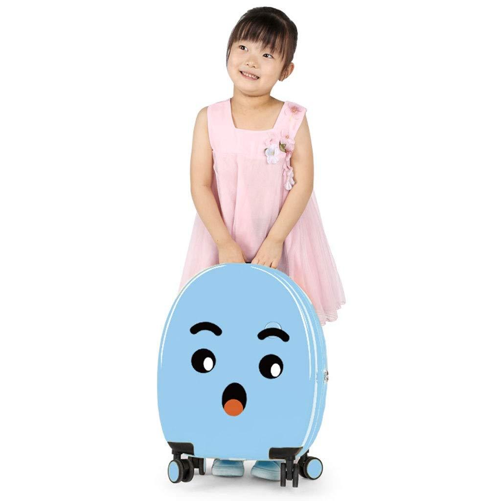FRF トロリーケース- 子供の小さいかわいいトロリー箱、学生の普遍的な車輪のかわいい搭乗ミニスーツケース (色 : 青, サイズ さいず : 17.5in) 17.5in 青 B07QKRYS5P