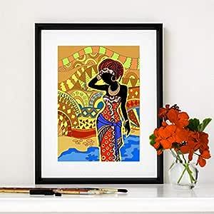 REDWPQ Mujer Negra Lienzo impresión del Arte Pintura Pintura ...