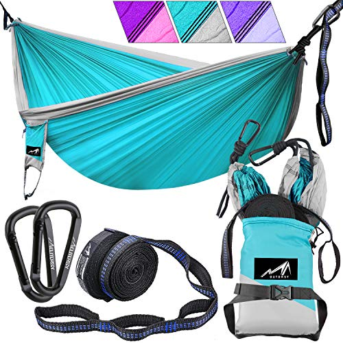 OUTDRSY Double Tree Hammock with Straps Included, 118x 78/ 550lbs Capacity, Premium 210T Nylon Parachute Hammock Tear-Resistant But Soft