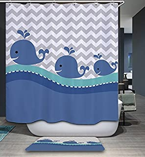 Izielad Blue Cartoon Whale Fabric Shower Curtain For Kid Children  Waterproof Bathroom Decor