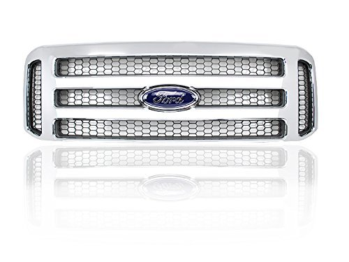 - Ford Chrome 05-07 Super Duty/Excursion Conversion Grille Fits 99-04 - For F250 F350 F450 F550 with factory clips and Ford emblem.