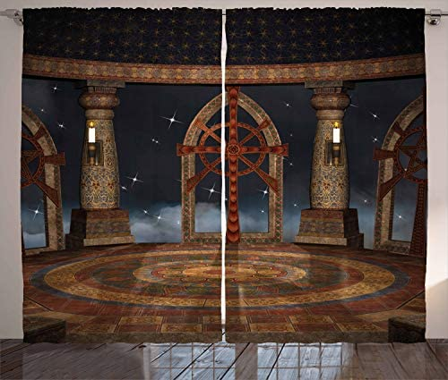 Ambesonne Medieval Curtains, Gothic Building in The Sky Large Terrace Fantasy Architectural Image Print, Living Room Bedroom Window Drapes 2 Panel Set, 108 W X 63 L Inches, Dark Grey Brown