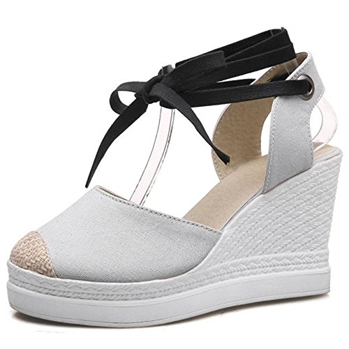 COOLCEPT Women Fashion Lace-Up Peep Toe Wedges Sandals Shoes 1814Grey TLTv9I4