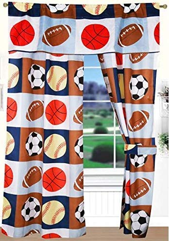 Golden Linens 5 pieces Printed curtain with Valance and Tie Back Kids Sports Basketball Football Baseball For Boys & Girls