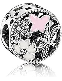 791842ENMX SPRINGTIME charm Pink white Enamel Butterflies and cubic zirconias